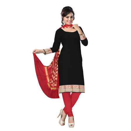 OSSUP104: Black and Red Banarasi Zari work Salwar Suit Piece.