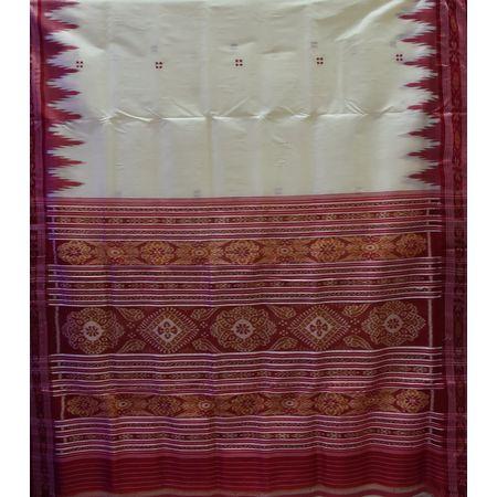 Odisha Handloom Silk Maniabandha White Saree AJ001697