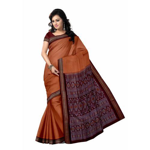 OSS40003: Bomkai cotton sari for puja online shopping from dhenkanal