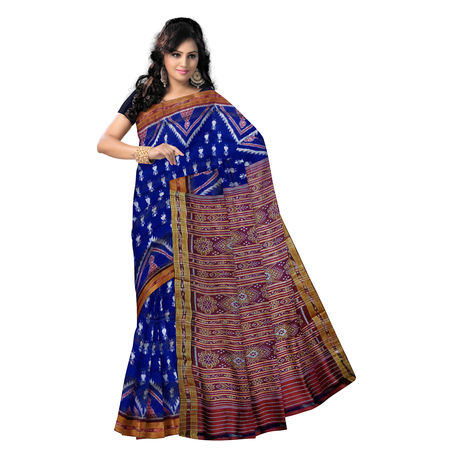 OSS5111: Ink Blue Traditional Handloom Silk saree of Nuapatna