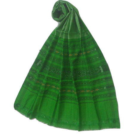 OSS3570: Green color Cotton Dupatta online from odisha