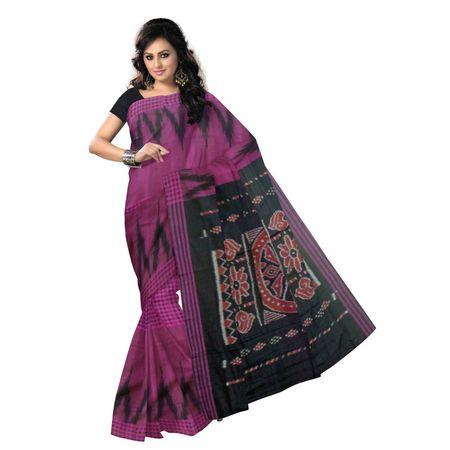 OSS9089: Deep Magenta with Black handwoven Cotton saree