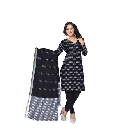 Unstitched Women's Handloom Grey with Black Ponchampally Ladies cotton Dress Material with Dupatta AJ001335