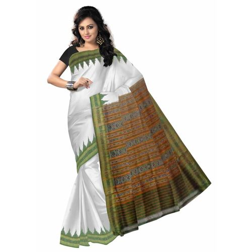 OSS5077: White handloom buti design sambalpuri silk Saree with beautiful temple motif work in border.
