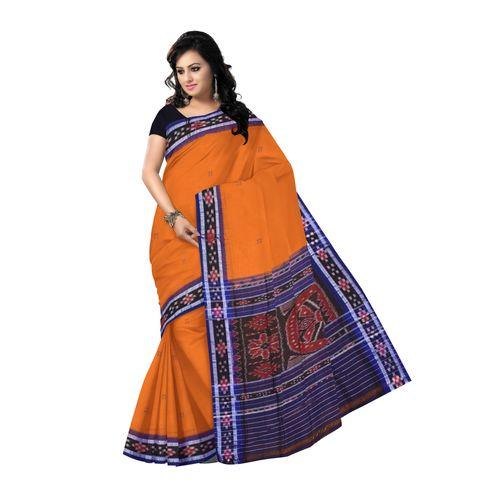 OSS7487: Brown colour buti design hand woven cotton saree