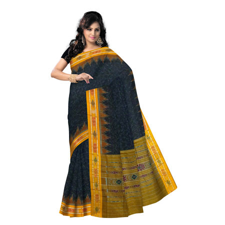 OSS473: Handloom Black color Cotton Sari.