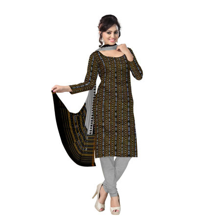 OSS6246: Exclusive Black & Grey Traditional Ikat Cotton Dress material