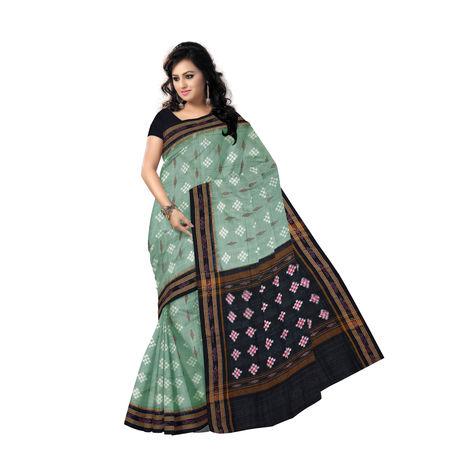 OSS7472: Light Green hand woven pasapalli design Sambalpuri Cotton Saree