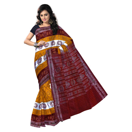 OSS7520: Yellow with Maroon unique design handwoven cotton saree