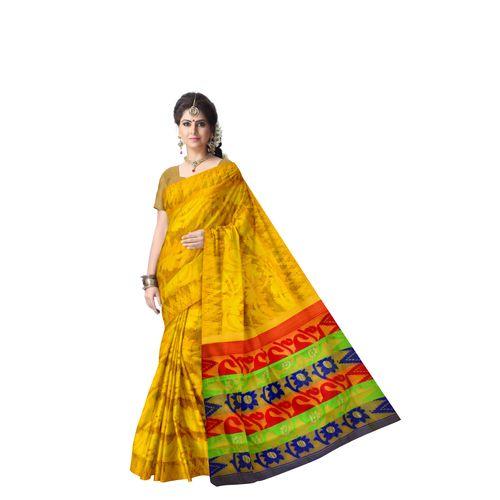 Flower Design Yellow with Multicolour Padma Dhakai Jamdani Handloom Cotton Saree of West Bengal AJ001459