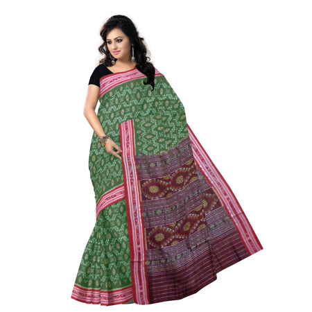 OSS7413: Special Body Bandha design Olive Green & Black cotton special sari