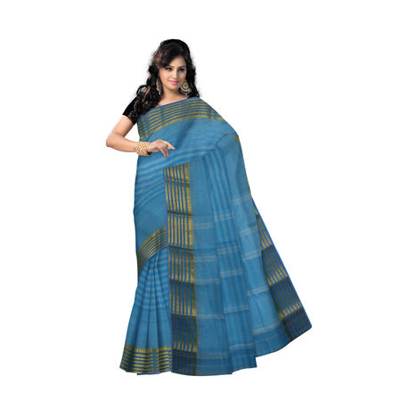 OSSWB9025: West Bengal Blue handwoven Cotton saree