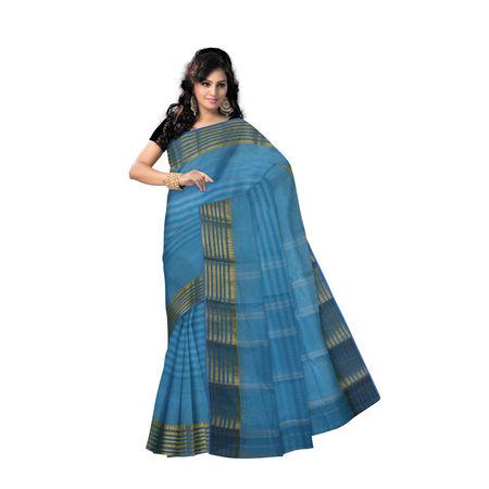 OSSWB9025: West Bengal Blue handwoven Cotton saree