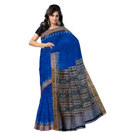 OSS5103: Deep Sky Blue handwoven Silk Saree for party wear.