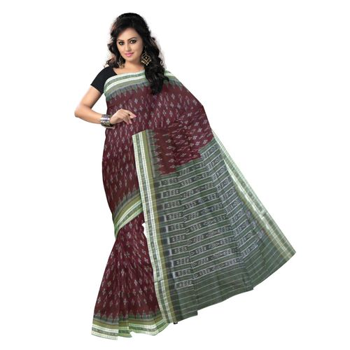 OSS9078: Maroon Color handwoven Cotton saree for puja wear.