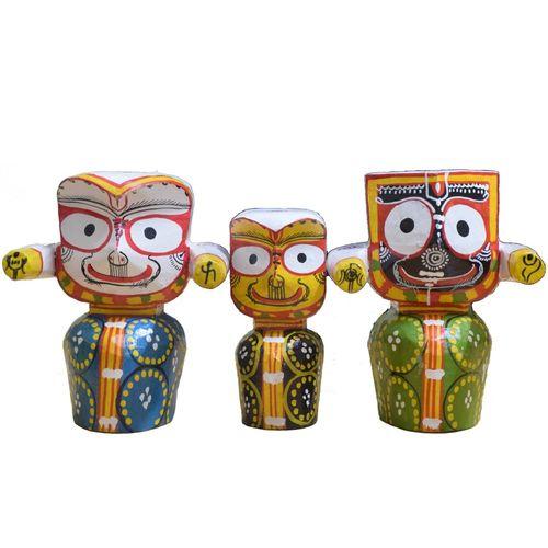 OHW024: Wooden Handicraft of Lord Jagannath, Lord Balabhdra and Maa Suvadra.