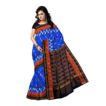 OSS5018: Ikat design blue colour hand woven Silk Saree