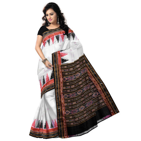 OSS5046: Traditional White Handwoven Temple design Silk saree.