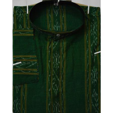OSS8063: Traditional Ikkat design Green Handwoven Kurta for Men