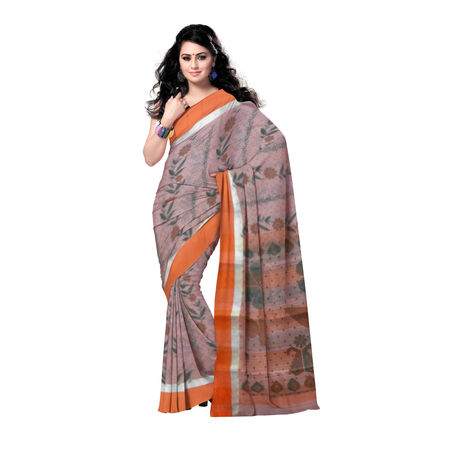 OSSWB9004: Hand Block printed cotton saree of West Bengal