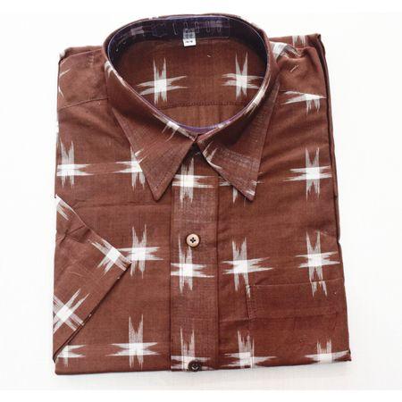 Brown With White Handloom Half Shirt for Men Made in Odisha Sambalpur AJ001761