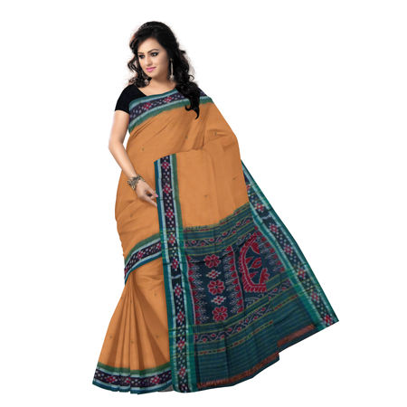 OSS976: Light Brown cotton saree with pasapalli border design