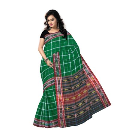 OSS9141: Green with check design cotton saree