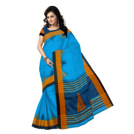 OSSWB9055: Sky Blue Temple Design Silk Saree of West Bengal
