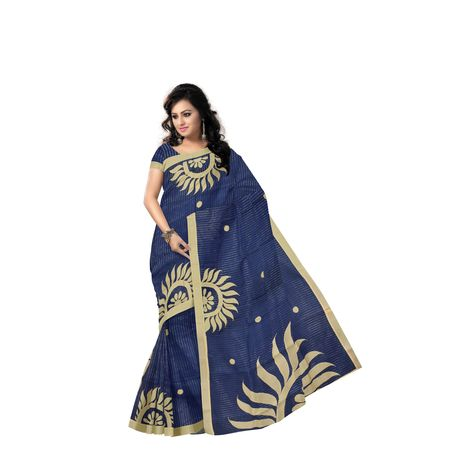 Sun Design Applique Work Handloom Deep Blue With Golden Cotton Saree Of West Bengal AJ001465