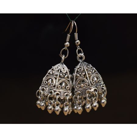 Black Metal Oxidized Handmade Rajasthani earrings jhumkas AJ00112