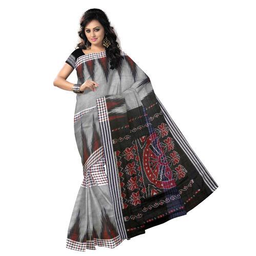 OSS428: Grey-Black Handloom Mercerized Sambalpuri Saree