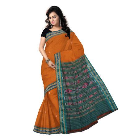 OSS150: Brown buti design handloom cotton sarees of odisha.
