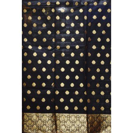 Black With Red Handloom Cotton silk Dress Material of Banaras AJ001794