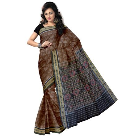 OSS7460: Traditional Alpana and Laxmi feet design handwoven cotton sarees