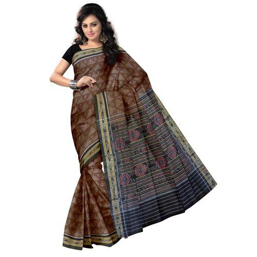 OSS7460: Traditional Alpana and Laxmi feet design handwoven cotton sarees