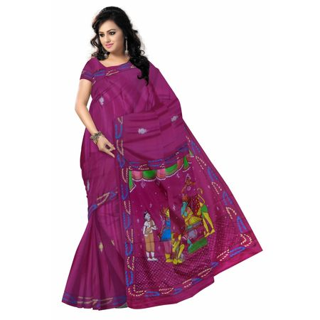 OSS300124: Rani color Hand painted Patachitra Synthetic Silk sarees.