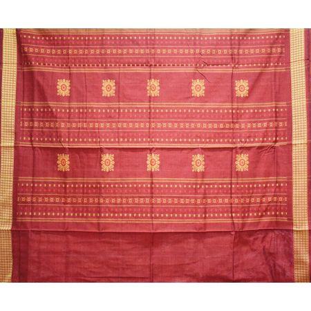 Light Maroon With Gold Rayagadi Padam Cotton Saree Of Odisha AJ001493