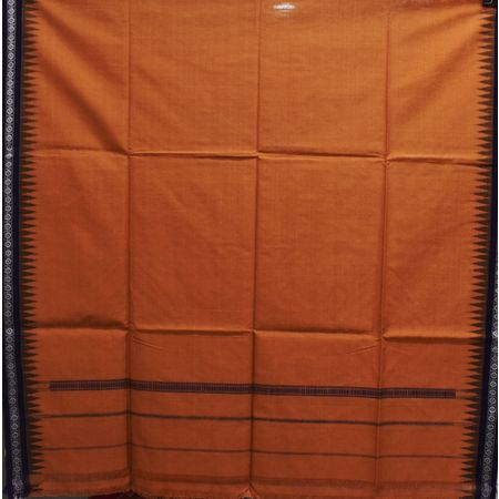 Deep Red With Navy Blue Color Combination Of Handloom Temple Design Towel Of Sambalpur, Odisha AJ001738