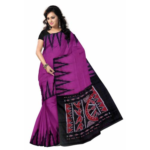 OSS285: Magenta color plain cotton sarees with big temple borders and shell design on Aanchal