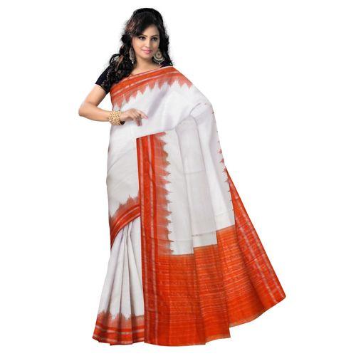 OSS066: White color handwoven cotton sarees of Odisha