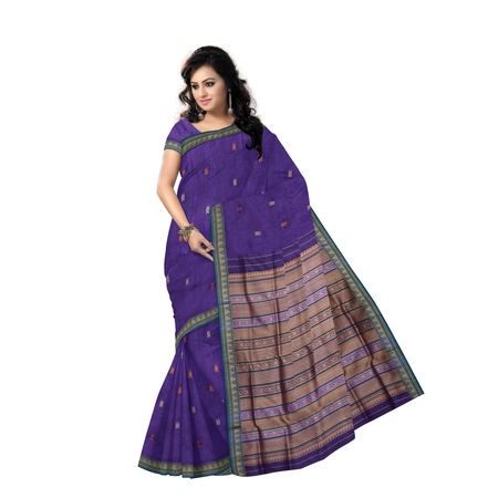 OSS9123: Natural weave Deep Indigo Kotpad Tussar Silk Saree