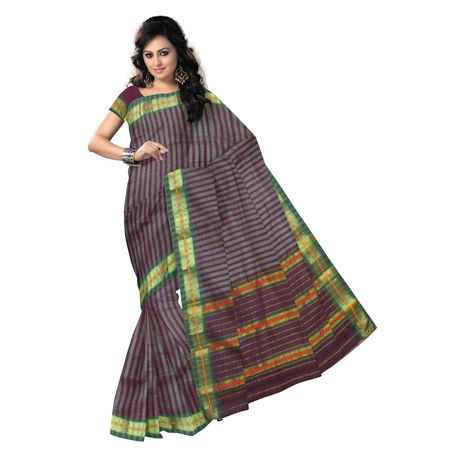OSSAP008: Traditional Handwoven maroon kanchi Cotton Saree