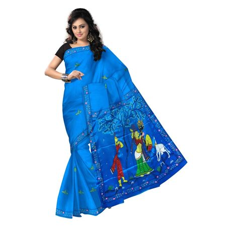 OSS300118: Aqua Blue color Synthetic Silk saree for festival wear