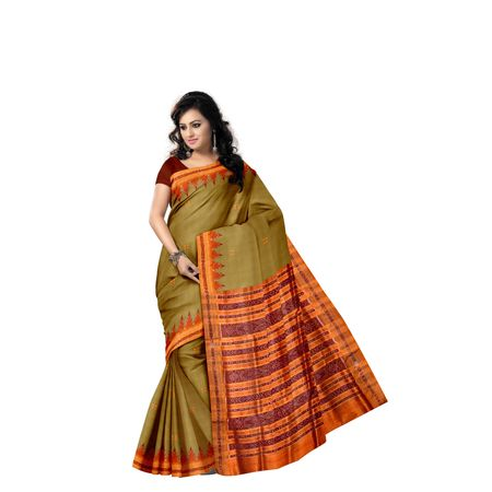 Light Green with Orange Ikat handloom Silk saree of Odisha Nuapatna AJ001301