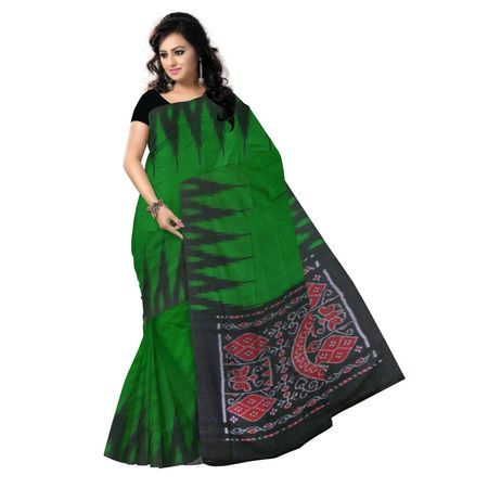 OSS9031: Green and Black color handloom cotton sarees of sambalpur