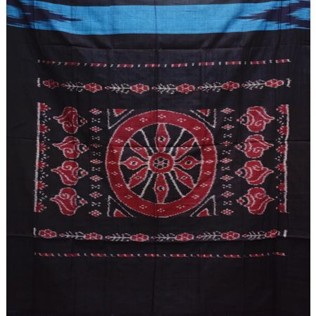 Kargil Design Metalic Blue With Black Handloom Cotton Saree of Odisha, Nuapatana AJ001557