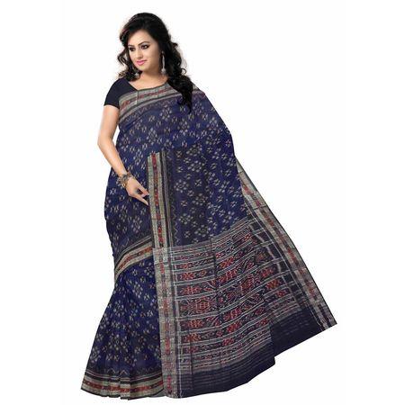 OSS7548: Navy Blue Handwoven cotton sarees for office wear.