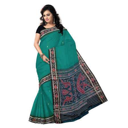 OSS3591: Deep Green color handloom cotton saree for online shopping