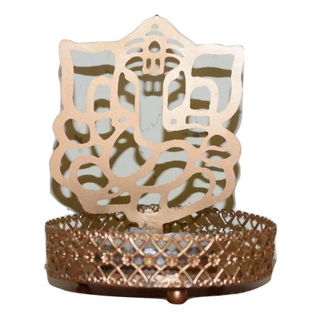 Hand Crafted Metal Diya With Lord Ganesh Shade AJ001451