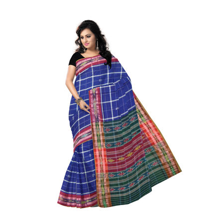 OSS1017: Navy Blue color Check design handloom cotton sarees